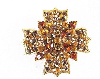 Vintage Maltese Cross Rhinestone Brooch, Pin, Gold Tone metal, Citrine Amber Stones