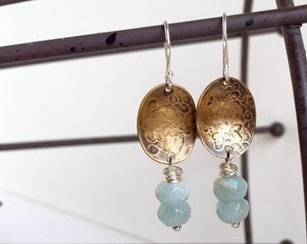 Aquamarine Earrings, Mixed metal earrings, Hammered metal, March birthstone, gift for her, Genuine Semiprecious stones, dangle earrings