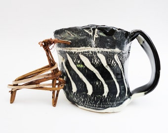 Twisted Rustic Pitcher or Mug, Primitive Hobbit Cup, 10 oz Medium Pottery Vessel, Hand built Coffee Mug, Zebra, Black and White, Gravy Boat