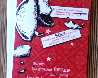 """Thinking of you Card. Sweet card for Friend. Just because card. """"Fortune Cookie"""""""