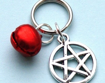 Pet Collar Charms with Pentagram & Red Bell for Cat or Dog Witches Pentacle New LB5