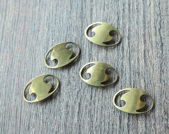 Vintage 40s 50s Oval Shaped Brass Stampings // Quotation Marks // Jewelry Supply NOS