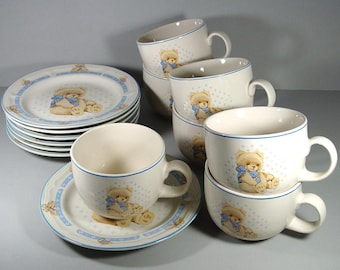 Tienshan Country Bear Stoneware Soup Mugs and Underplates, Service for (7) Coffee Mug, Teddy Bear with Blue Bow