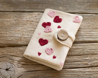 Credit Card Wallet with Hearts in Red and Pink, Natural White Cotton Card Holder, Organizer
