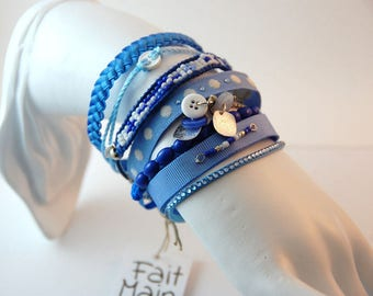 Cuff multi-row woman - blue - ribbons and beads