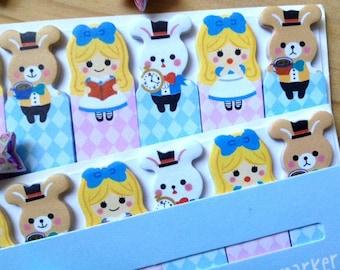 Alice in wonderland sticky note girls stick marker fairy tale sticky paper note rabbit sticky memo diary animal index paper cute stationary