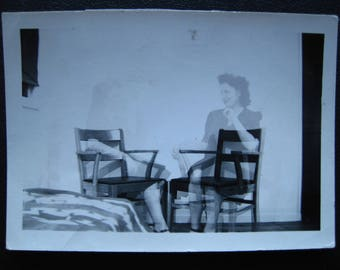 Ghost of You... 1940's Vintage Double Exposure Photo... Original Vintage Snapshot Photograph