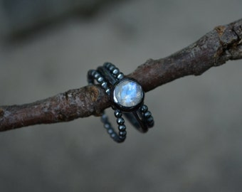 Rainbow Moonstone Ring,Moonstone Ring, Faceted Moonstone, Sterling Silver, Stacking Rings