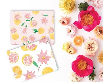 Watercolor Grapefruit Floral Notecards • Set of 6 Cards with Painted Grapefruits and Flowers