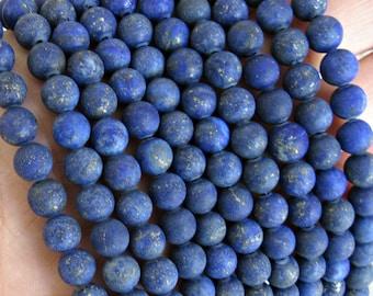6mm Lapis Lazuli, Frosted Lapis, Matte lapis lazuli, navy blue gemstone, lapis lazuli beads, Lapis 6mm beads, round lapis lazuli, strand