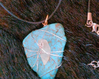 Turquoise & Sea Glass Pendant
