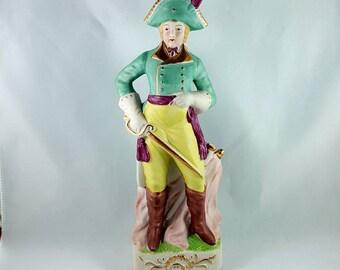 Vintage Napoleonic Soldier Ceramic Bisque Finish Figurine Made in Occupied Japan, Occupied Japan Figurine
