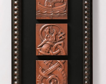Fishing for Jormungand (Copper) Limited edition of 50 signed/numbered, framed sculptural reliefs by Aric Jorn.