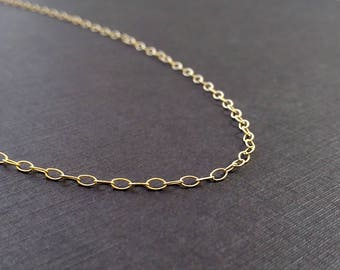 TEXTURED OVAL - 16, 18, 20 Inch Chain - 14k Gold Filled Chain - JustDangles - Yellow Gold Finished Chain - Ready to Wear - Simple Gold Chain