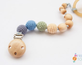 Wood Pacifier Clip | Organic Cotton, Juniper | Soother Clip | Dummy Chain | Pacifier Chain | Baby Boy Gift