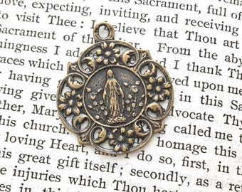 "Our Lady of Lourdes  - Immaculate Conception - Religious Medal -  1"" - Bronze or Sterling Silver - Reproduction - Made in the USA (M19-058)"