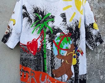 Vintage Jean Charles De Castelbajac Multicolor Overprint Tshirt