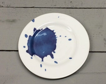 Blue Splash bone china tea plate.