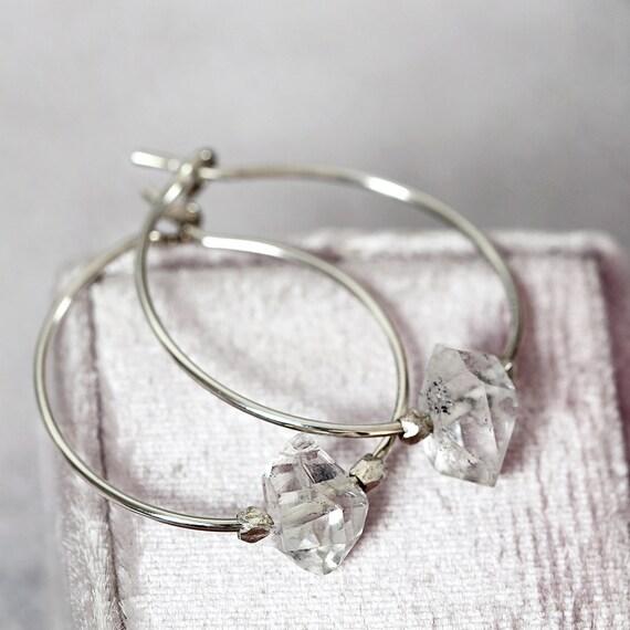 Herkimer Diamond Wedding Earrings -  Modern Wedding Jewelry