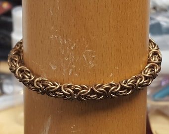 Bronze byzantine chainmaille bracelet for smaller wrists