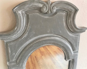 SOLD | Large Ornate French Provincial Mirror | French Country Mirror | Shabby Chic Mirror | Gray Mirror | Leaning Mirror | Wall Mirror