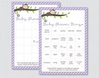 Monkey Baby Shower Bingo Cards - Prefilled Bingo Cards AND Blank Cards - Digital Instant Download - Purple Monkey Baby Shower Game - 0009-V