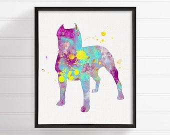 Watercolor Pit Bull, Pit Bull Art, Pit Bull Print, Pit Bull Wall Art, Pit Bull Painting, Dog Wall Art, Dog Lover Gift, Watercolor Animal