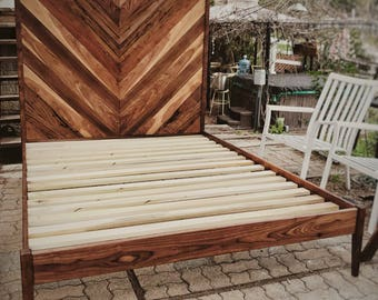 Book-Matched Walnut Chevron Bed Frame (Queen)