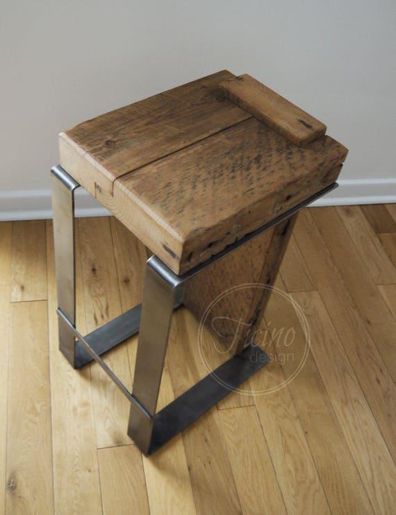 Rustic Wood Bar Stools ~ Rustic barstool reclaimed wood bar stool industrial