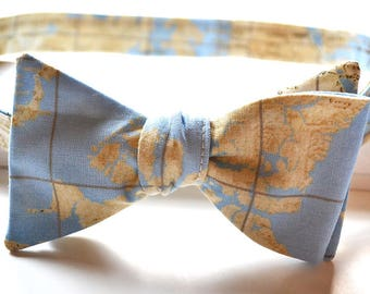 Map Bow Tie - Blue Map Bow Tie - Map Bowties - Self Tie Bow Tie - Mens Bow Tie - Womens Bow Tie - Gifts for Him - Unique Bow Tie - Blue Map