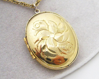 Large Vintage Floral Locket Pendant Necklace