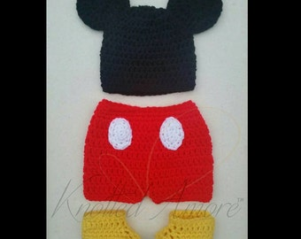 Crochet mickey mouse set, crochet hat set, crochet shorts, mickey mouse, baby boy set, mickey mouse hat, baby shorts, baby costume, booties