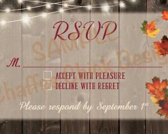 Rustic Fall Leaves Barnwood Lights Wedding RSVP Cards 1 - DIGITAL DESIGN