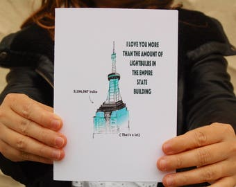 Empire State Building Card. I Love You Card. New York City Greeting Card.