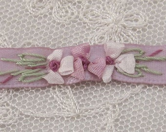 34 Inches Hand Embroidered Mauve Satin Ribbon Flower Trim Baby Doll Christening Gown