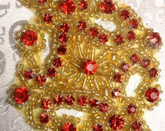 "JB115 Red Rhinestone Applique Gold Beaded 4"" (JB115-rdgl)"