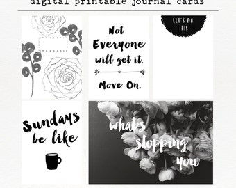What's Stopping You - Black and White Journal Cards, Project Life, Digital Download, Instant Download