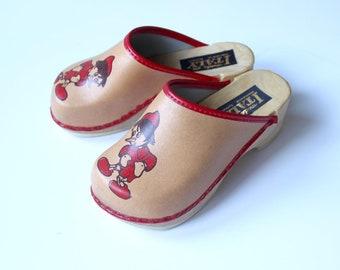 Vintage 70's / kids / clogs / bohemian shoes / Pinnochio pattern / new old stock / size EU 28/29/30/31