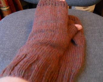 Brown fingerless gloves for a man