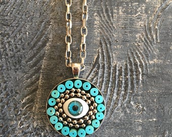 Mini mosaic pendant, mosaic pendant, protective eye pendant