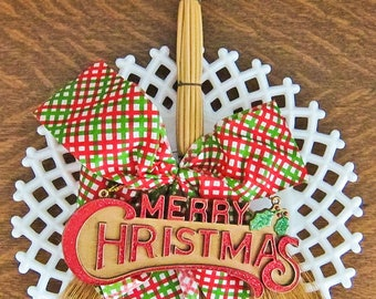 Vintage Merry Christmas Sign and Bow on Rustic Broom Straw Holiday Hanging Decor