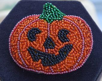 Pumpkin Halloween Brooch, Glass Seed Bead (AF6)