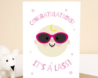 It's a Lass! Novelty, New Born Baby Girl Congratulations Card - Comes with envelope, Next Day Shipping!