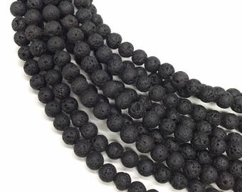 10 x beads 4mm black lava stone