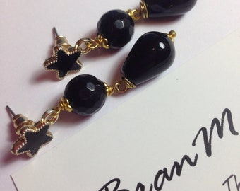 Black onyx pendant earrings with star pin