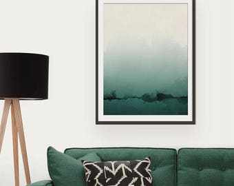 Green Abstract Print. Abstract Art. Green Art. Abstract Painting Solitude Is Bliss Minimal Art Print. Wall Art. Wall Decor.
