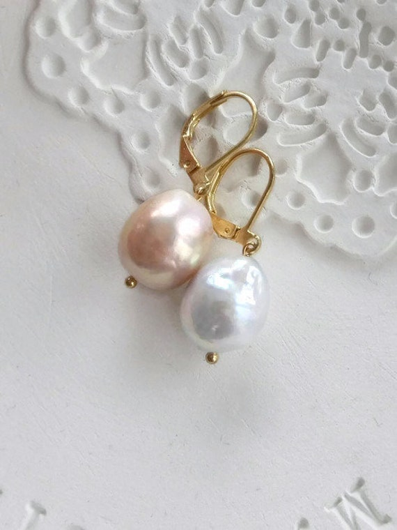 Pearls earrings Mismatched earrings gold filled baroque pearls dangle earrings June birthstone earrings pink blue earrings italian earrings