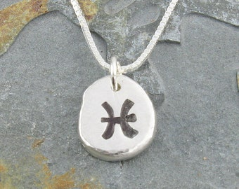 Pisces Necklace,Organic Rustic Recycled Sterling Silver Zodiac Jewelry