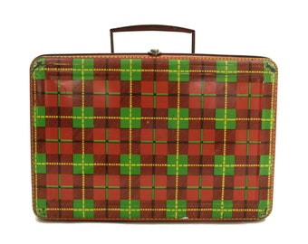 Vintage Metal Suitcase with Red Tartan Litho Print. Kids Tin Biscuit Box. Children Lunch Box. French advertising. Flan Marquise Lunchbox.