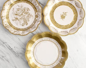 12x gold theme paper plates cake plates pink and gold wedding paper & 12x Pink and gold pink theme pack paper plates pink and